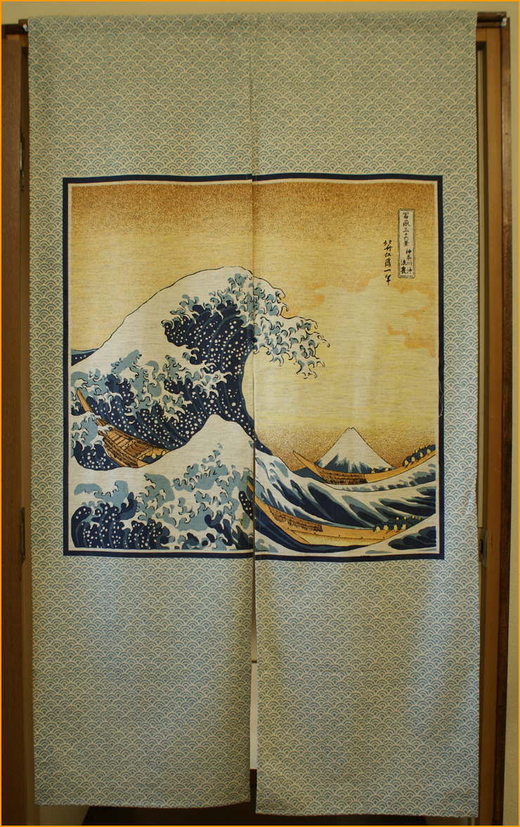 New japanese style door window curtain noren great wave for Japanese style windows